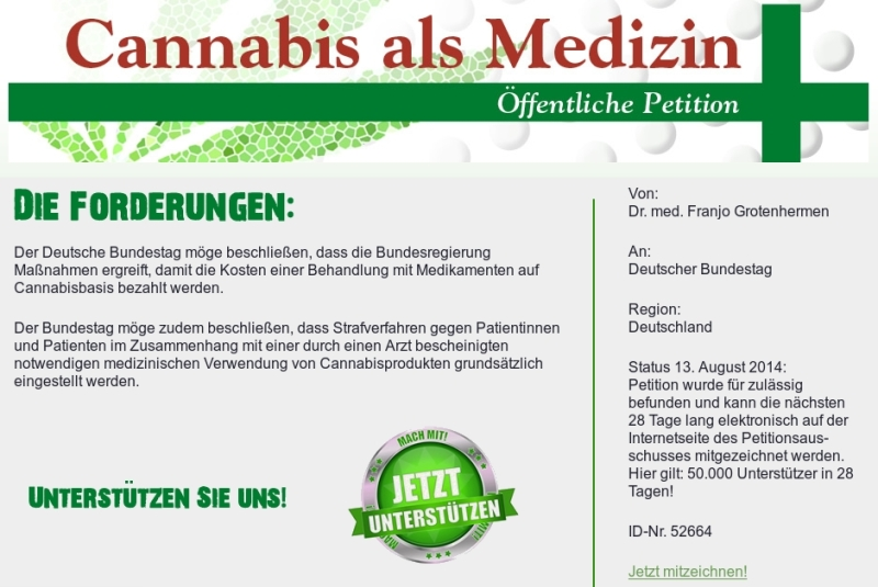 Screenshot eines Teils der Website zur Petition; www.cannabis-medizin-petition.de.